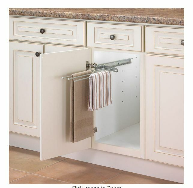 Under Sink Shelf Shelves That Slide Cabinet Pull Out: Kitchen Pull Out 3-Arm Towel Bar Cabinet Organizer Inside
