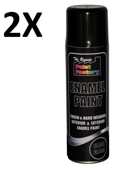 2x Enamel Black Gloss Paint Spray Aerosol 250ml Radiator Metal Wood Brand New Ebay: black metal spray paint