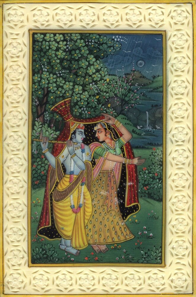 Krishna Radha Decor Folk Painting Handmade Indian Ethnic Miniature Hindu Art Ebay