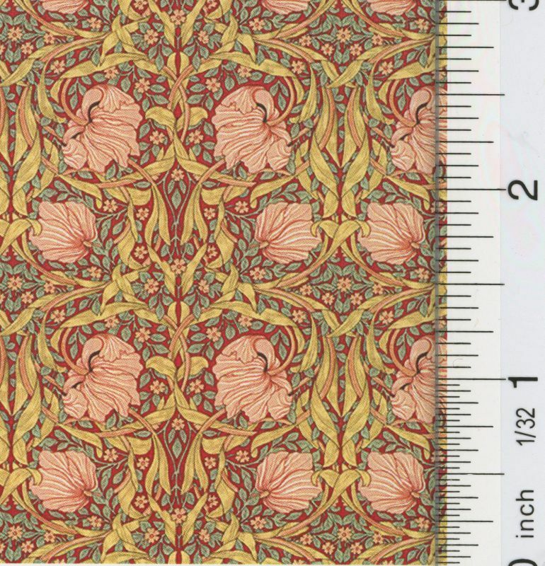 Dollhouse Wallpaper Victorian Tulips Red
