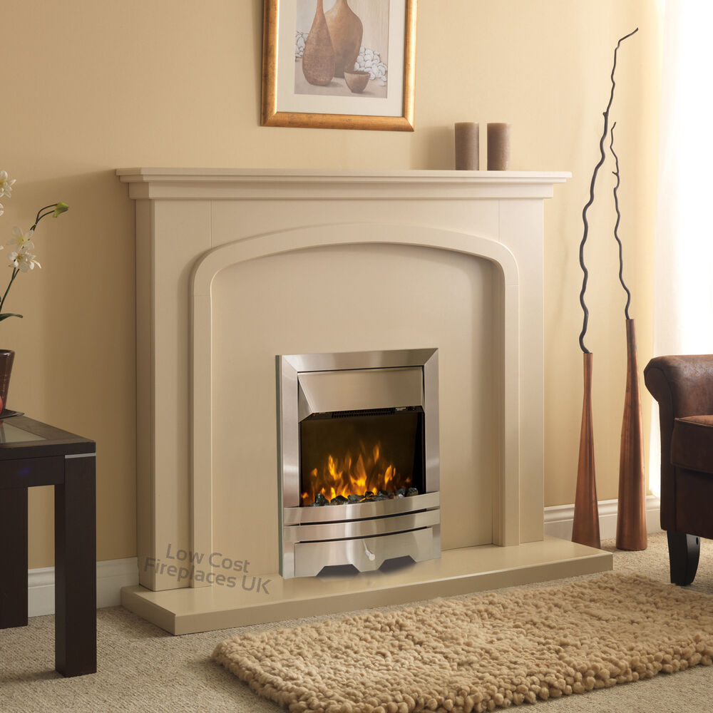 Electric Cream Surround Silver Fire Wall Mounted Fireplace Set Suite Large 54 Ebay