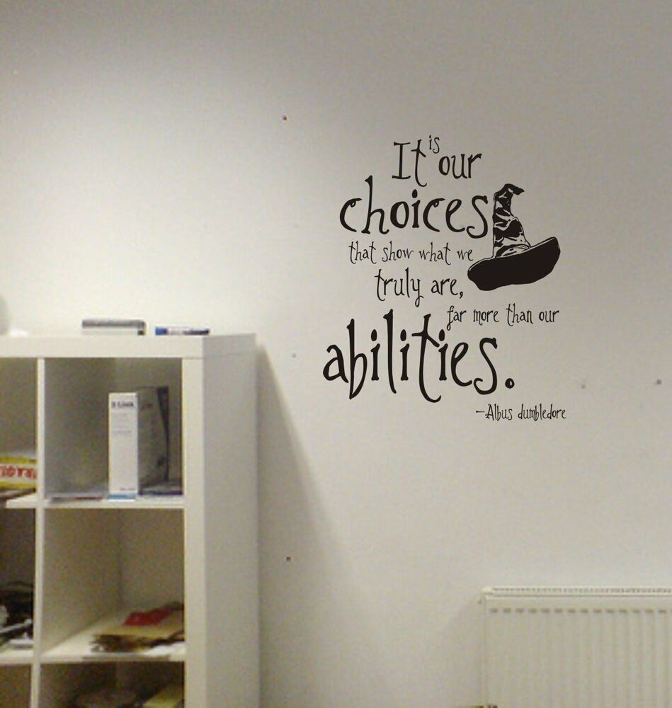 Harry Potter Our Choices Quote Vinyl Wall Decal Lettering Abilities Sorting Hat & Harry Potter Wall Decal | eBay