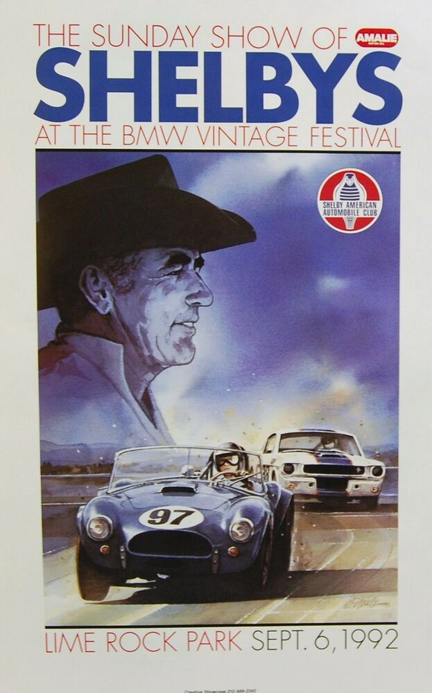 Ford Racing Parts >> 1965 Carroll Shelby R Model Ford Mustang AC Cobra SCCA Racing Poster SVT NHRA | eBay