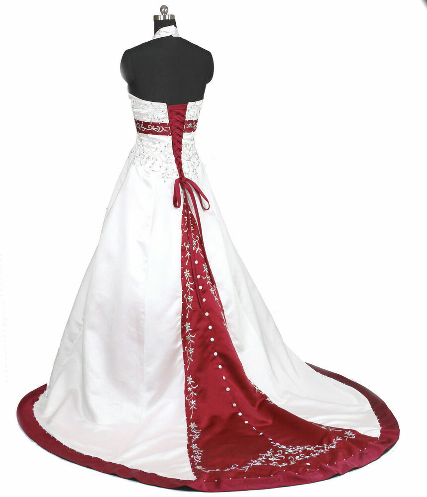 White and red satin embroidery wedding dress bridal custom for All red wedding dresses