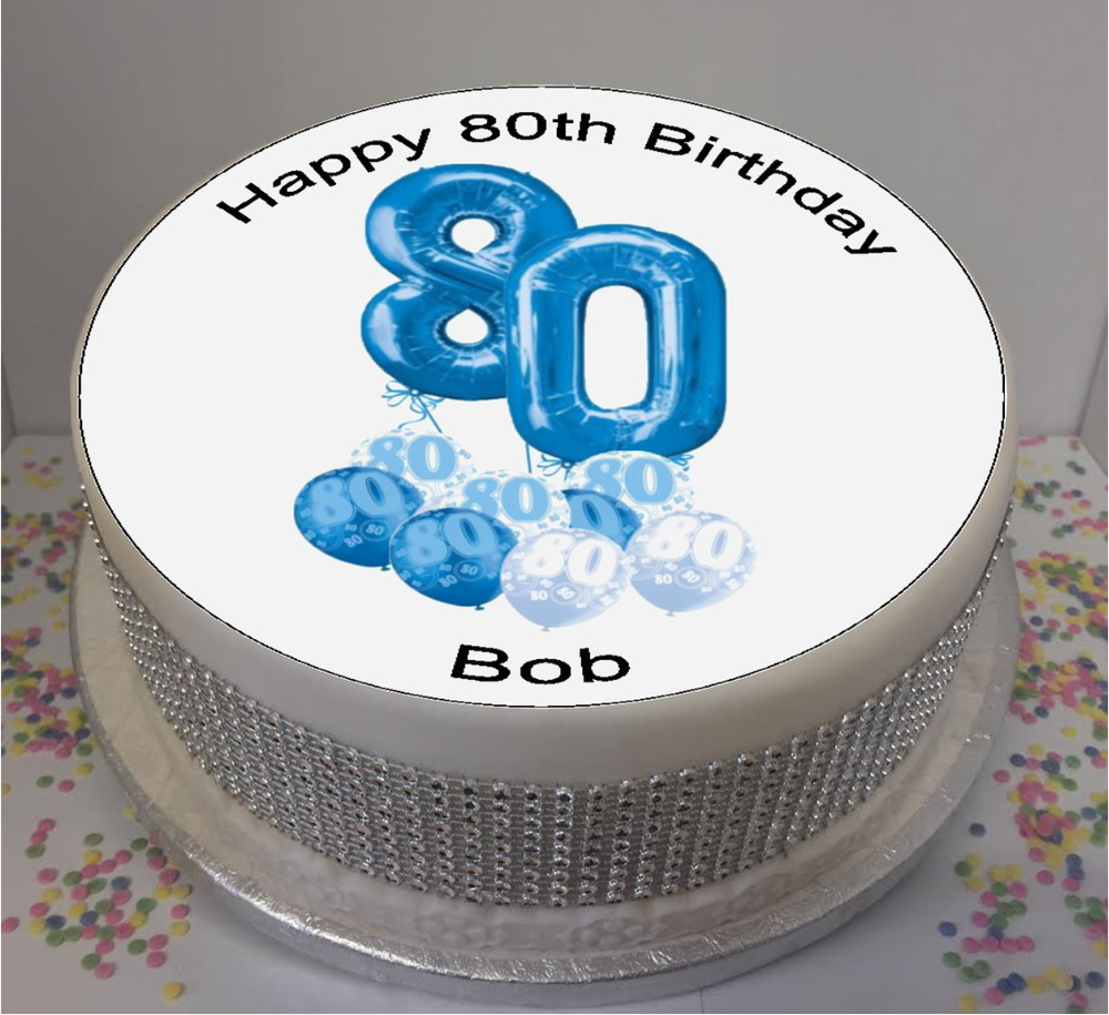 Novelty Personalised 80th Birthday Blue Ballons 75 Edible Icing Cake Topper 8438488848296