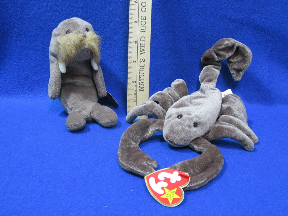 9daf90517fd Details about Ty Beanie Babies Stuffed Animal Jolly Wallrus 96 Stinger  Scorpion 97 Lot of 2