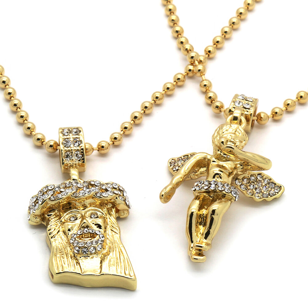 Mens gold plated jesus angel piece combo set iced out cz