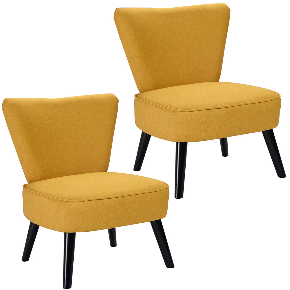 Set of 2 armless accent dining chair modern living room for Living room accent chairs