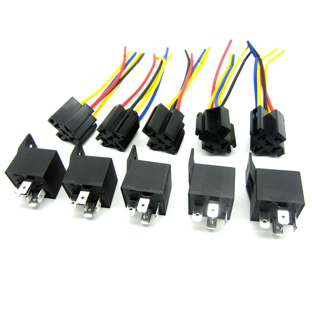 Lot5 New 12volt 30  40 Amp Spdt Automotive Relay With Wires