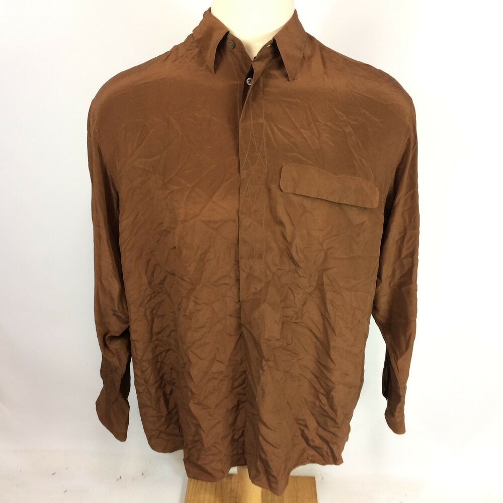 Fabulous Vintage 70s Italian Silk Mod Psychedelic Retro Atomic Brown Disco &RC11