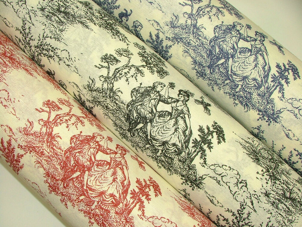Regency toile de jouy cotton fabric multi use upholstery - Papel pintado toile de jouy ...