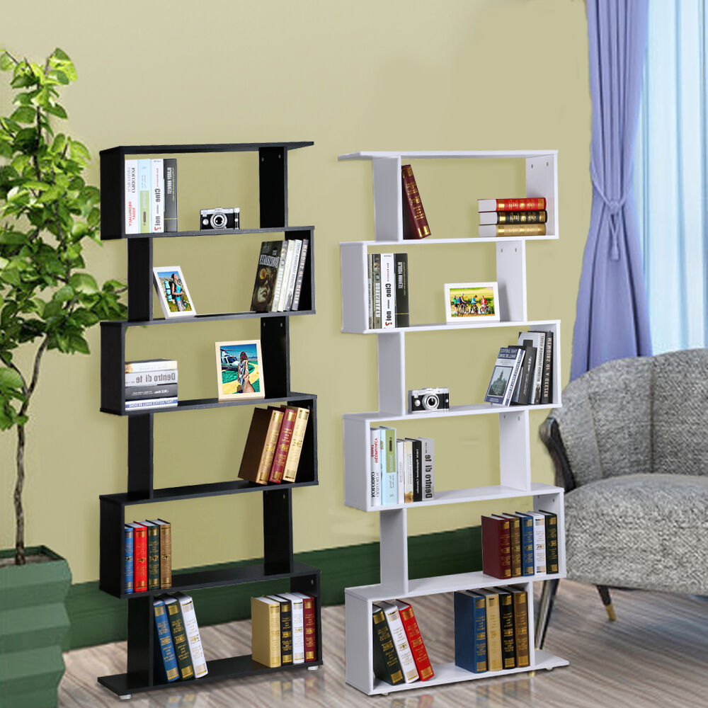 6tie S Shape Wood Bookcase Bookshelf Shelves Storage Display Unit Home Furniture Ebay