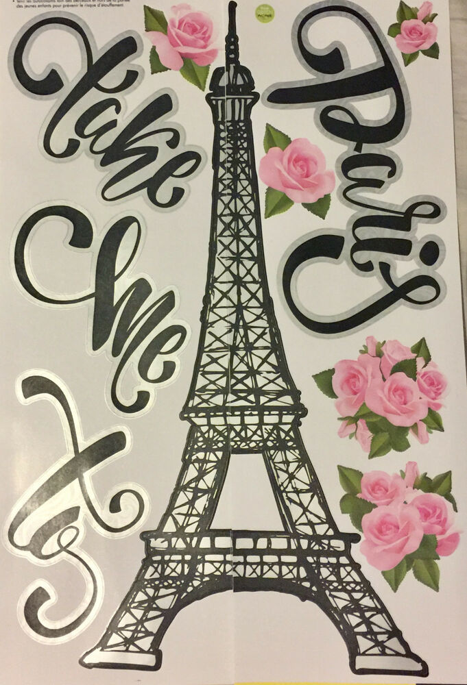 take me to paris wall stickers 11 decals wall decor eiffel tower flowers ebay. Black Bedroom Furniture Sets. Home Design Ideas