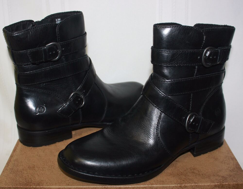 born s mcmillan black leather boots size 8 new with