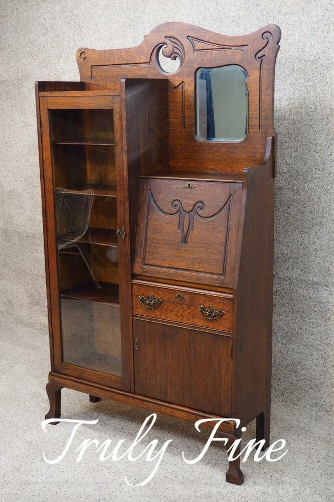 Original Victorian Tiger Oak Side By Side Secretary Desk