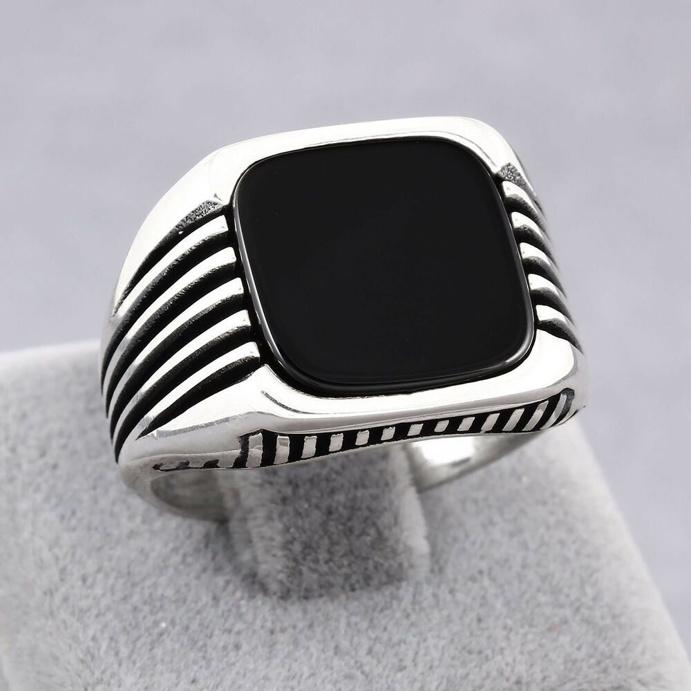 Fine Turkish Jewelry Black Onyx Square 925 Real Sterling