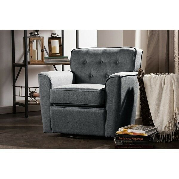 fabric swivel club chairs retro grey fabric upholstered button tufted swivel lounge 15197 | s l1000