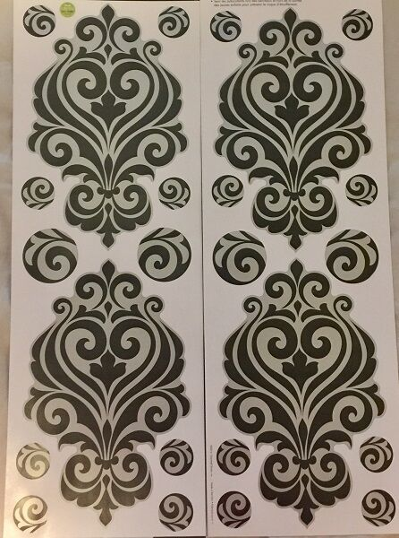 BLACK SILVER SWIRL wall stickers 24 decals dining living