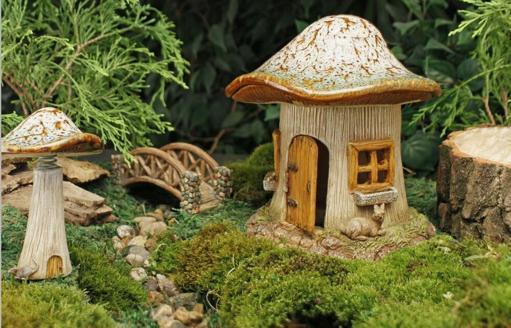 mini miniatur feengarten pilz h tte giftpilz puppe haus zubeh r ebay. Black Bedroom Furniture Sets. Home Design Ideas