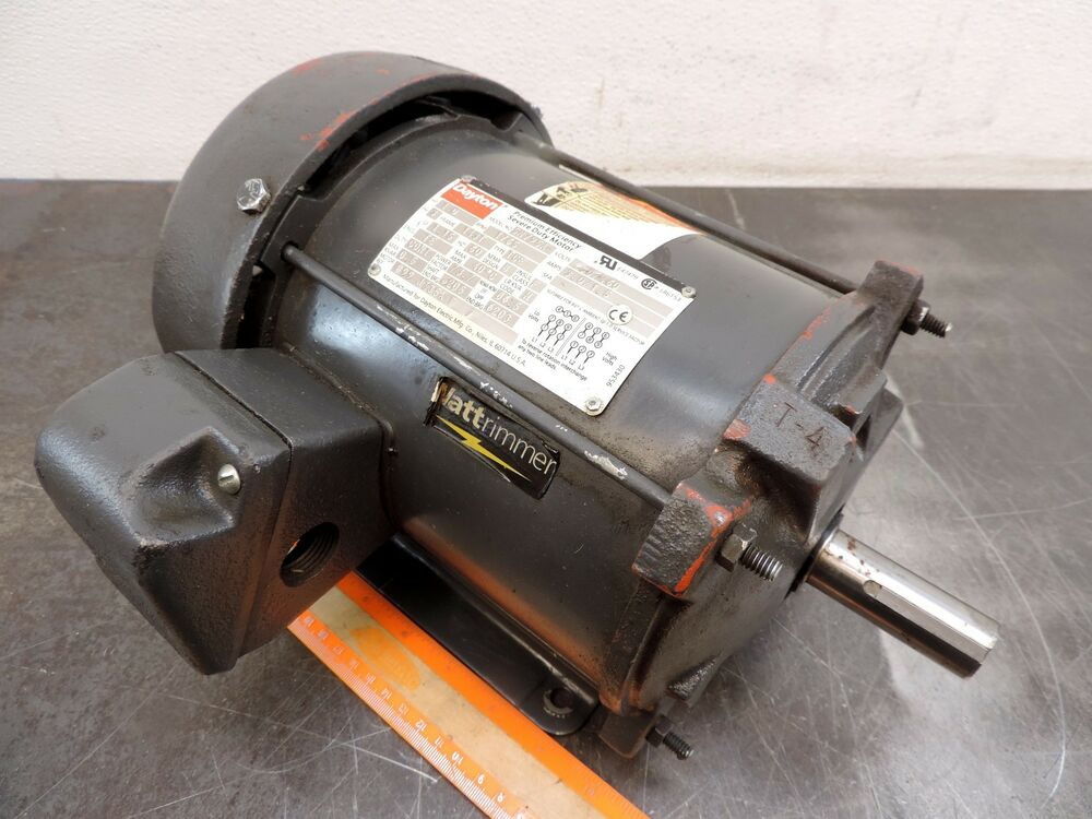 Dayton 5n795a electric motor 1 hp 1735 rpm 230 460 volt for 3 phase 1hp electric motor