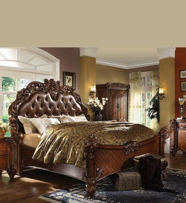 Formal Luxury Antique Daruka Cherry Queen Size 4 Piece: Formal Luxury Antique Vendome Cherry Eastern King Size Bed