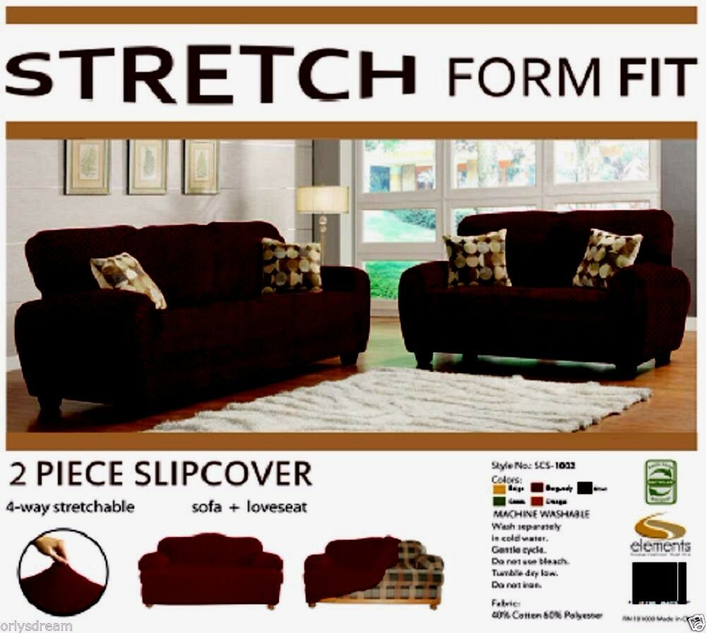 Stretch Form Fit 2 Pc Slipcovers Set Sofa Loveseat Covers Chocolate Brown Ebay