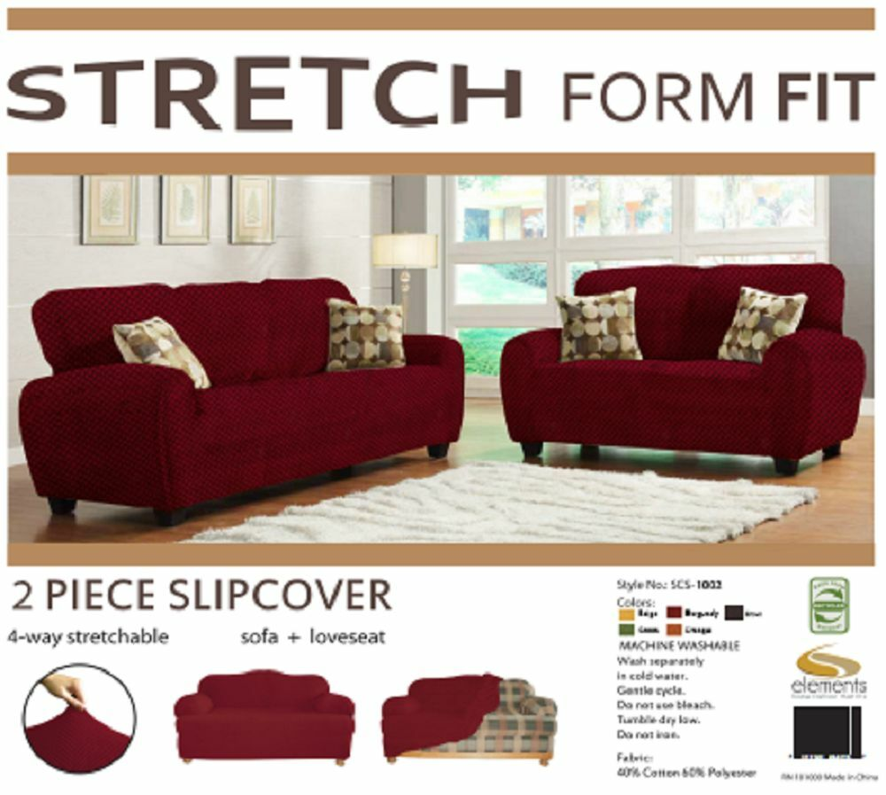 Stretch Form Fit 2 Pc Slipcovers Set Sofa Loveseat