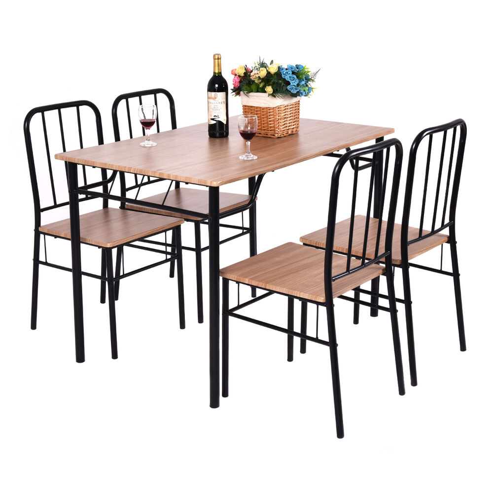 5 piece dining set table and 4 chairs metal wood home for Wooden dining table chairs