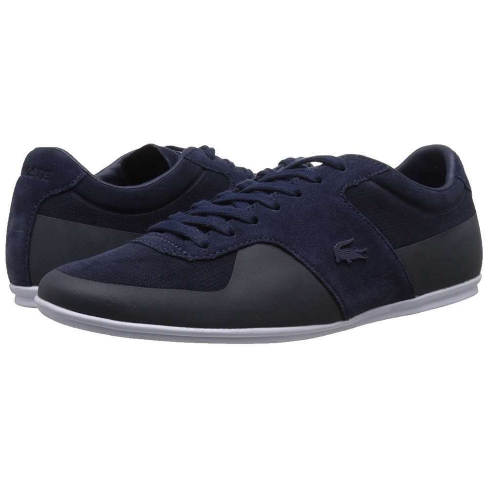 cda83232984ba Details about Lacoste Men s Turnier 216 1 Low-Rise Leather Sneakers Navy  Blue Casual Shoes NEW
