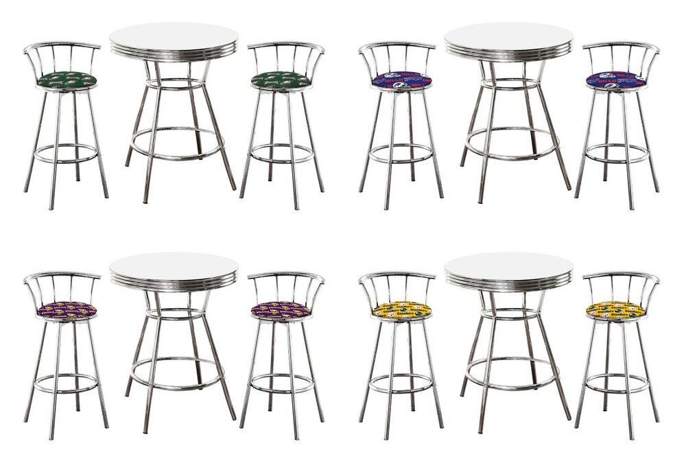 3 Pc Various Sports Themed White Bar Table Set W 2 29