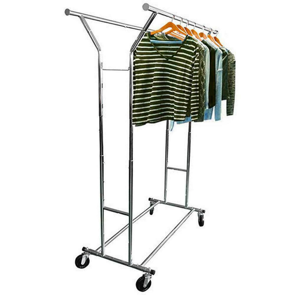 Commercial Adjustable Clothing Rolling Double Garment Rack