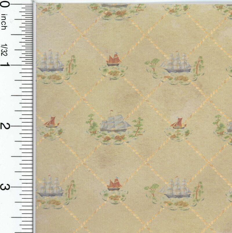 """Dollhouse Wallpaper American Colonial """"Clippers"""""""
