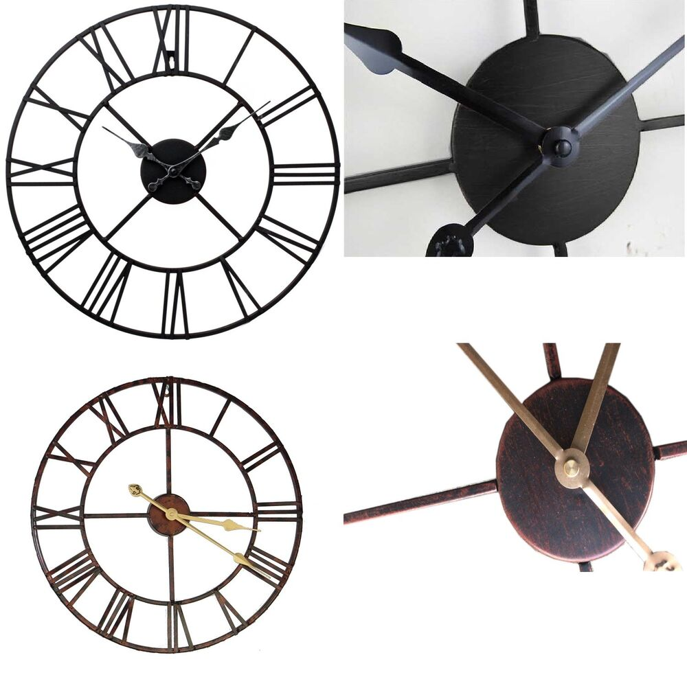 Large round black metal skeleton roman numeral indoor garden outdoor wall clock ebay - Large roman numeral wall clocks ...