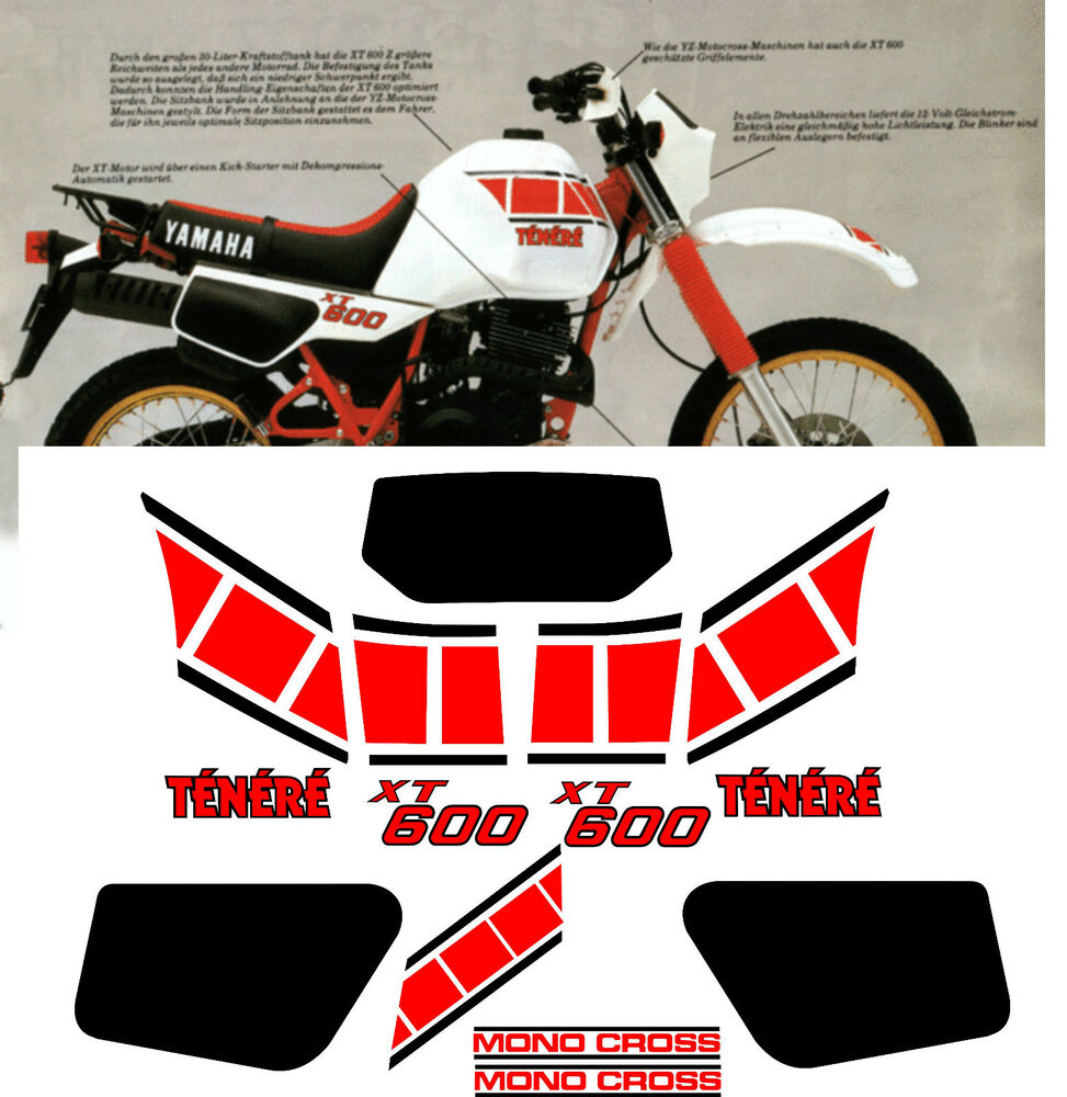 Yamaha xt600 tenere stickers decals aufkleber autocollant for Autocollant mural