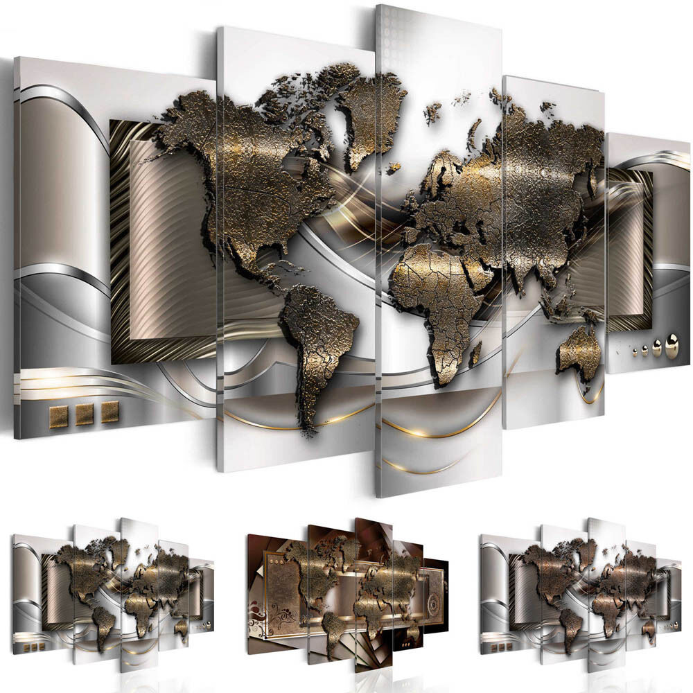 Canvas print modern picture wall art decor home world map for World home decor
