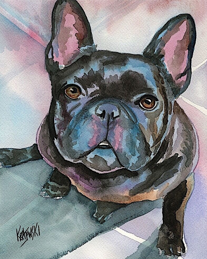 bulldog artwork french bulldog art print signed by artist ron krajewski 1820