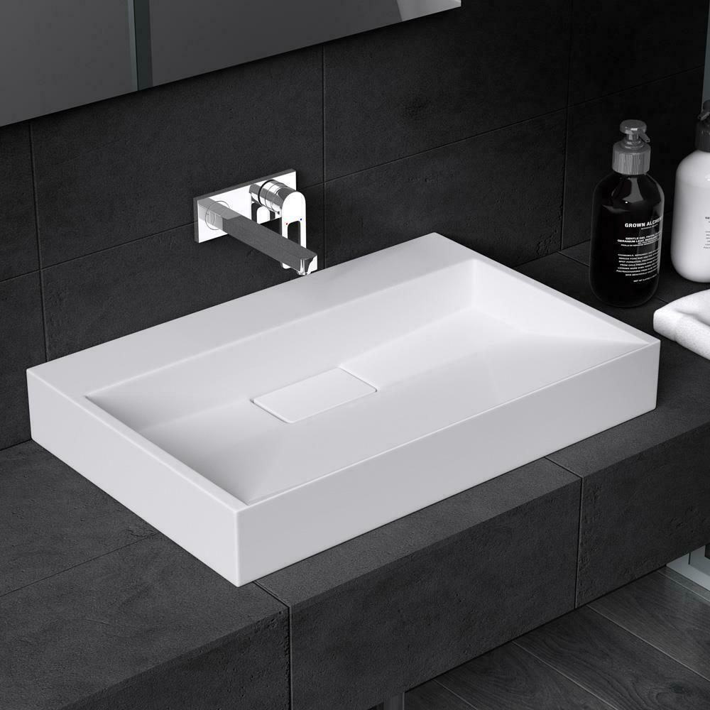 Durovin Bathrooms Basin Sink Stone Resin Rectangle Wall
