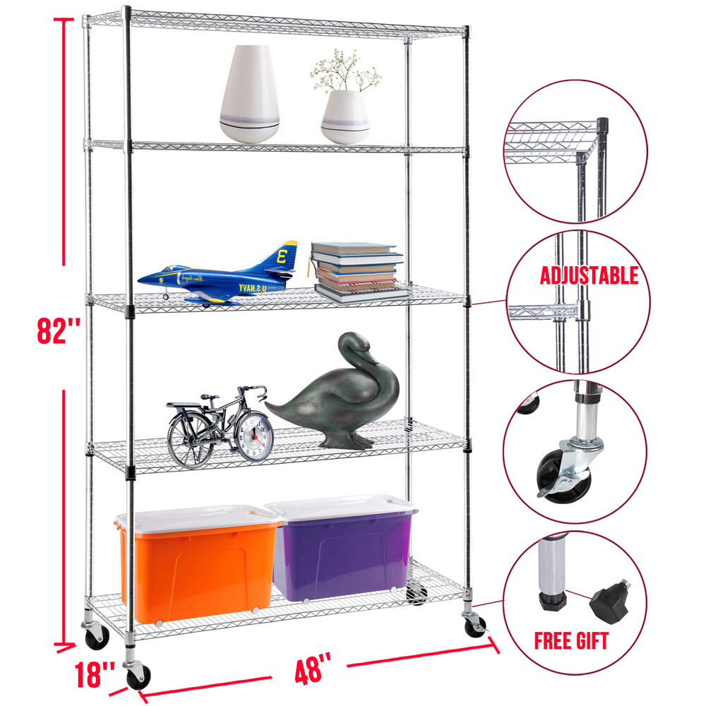 82 x48 x18 adjustable heavy duty 5 tier wire shelving. Black Bedroom Furniture Sets. Home Design Ideas
