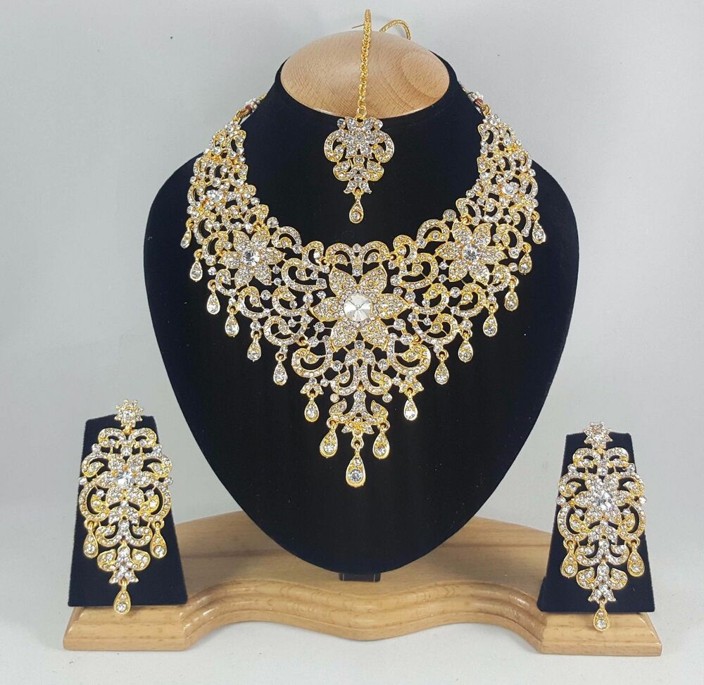 Indian Gold Plated Choker Necklace Traditional Bridal: Indian Bollywood Style Fashion Gold Plated Bridal Jewelry