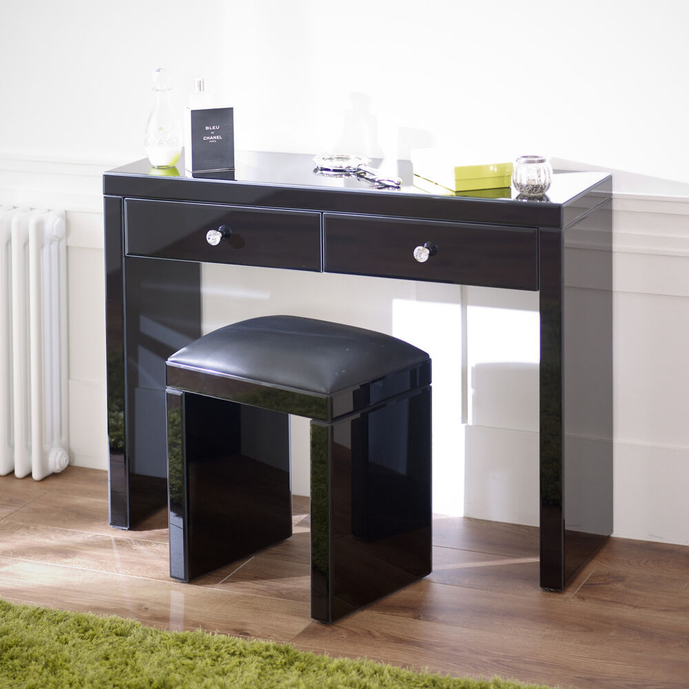 Mirrored black glass dressing table and stool set brand