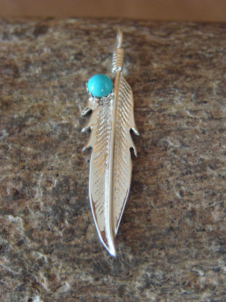 Small Navajo Indian Jewelry Sterling Silver Feather