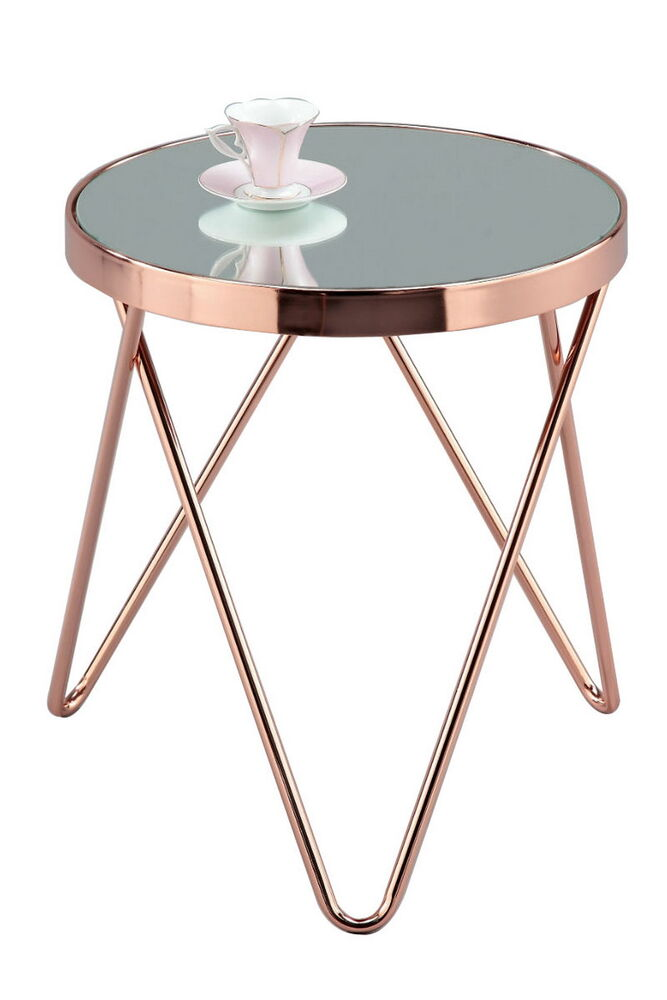 PUCCINI Mirrored/Glass Round Side/Coffee/End/Lamp Table(Copper/Mirror ...
