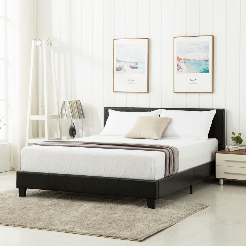 queen size platform bed frame faux leather slats upholstered headboard bedroom ebay. Black Bedroom Furniture Sets. Home Design Ideas