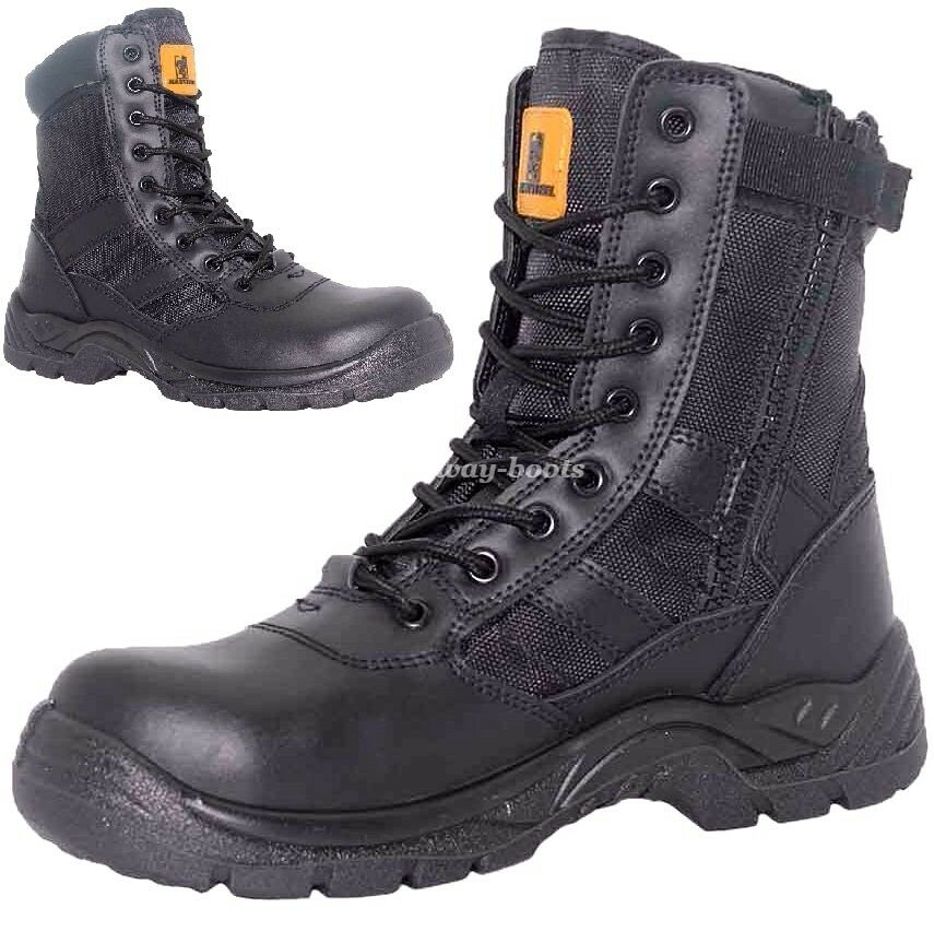 MENS LEATHER WATERPROOF MILITARY COMBAT BOOTS POLICE NON ...