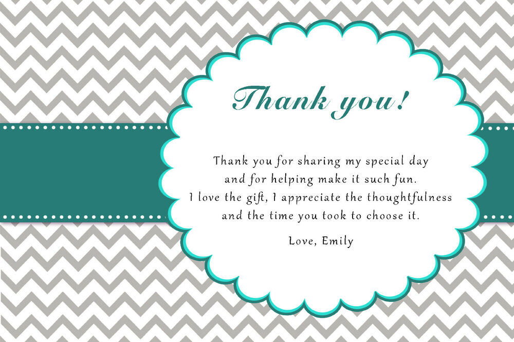 30 chevron thank you card notes teal and grey adult kids