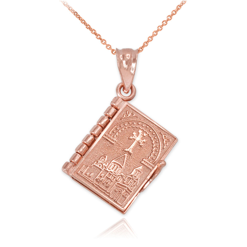 10k rose gold armenian holy blble book with lords prayer for 10k gold jewelry
