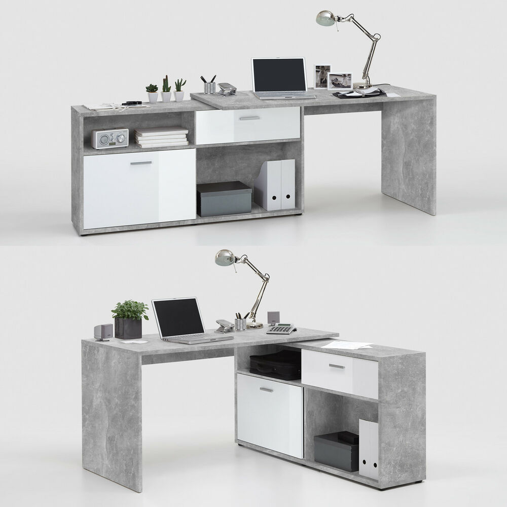 winkelschreibtisch diego b rotisch mit regal in beton optik und wei hochglanz ebay. Black Bedroom Furniture Sets. Home Design Ideas