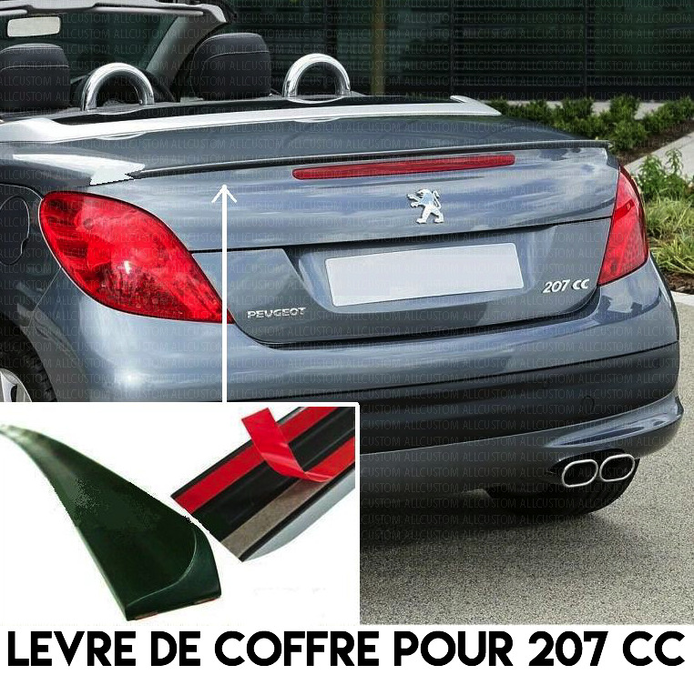 lame coffre peugeot 207cc 207 cc 2007 2013 spoiler becquet aileron malle hayon ebay. Black Bedroom Furniture Sets. Home Design Ideas