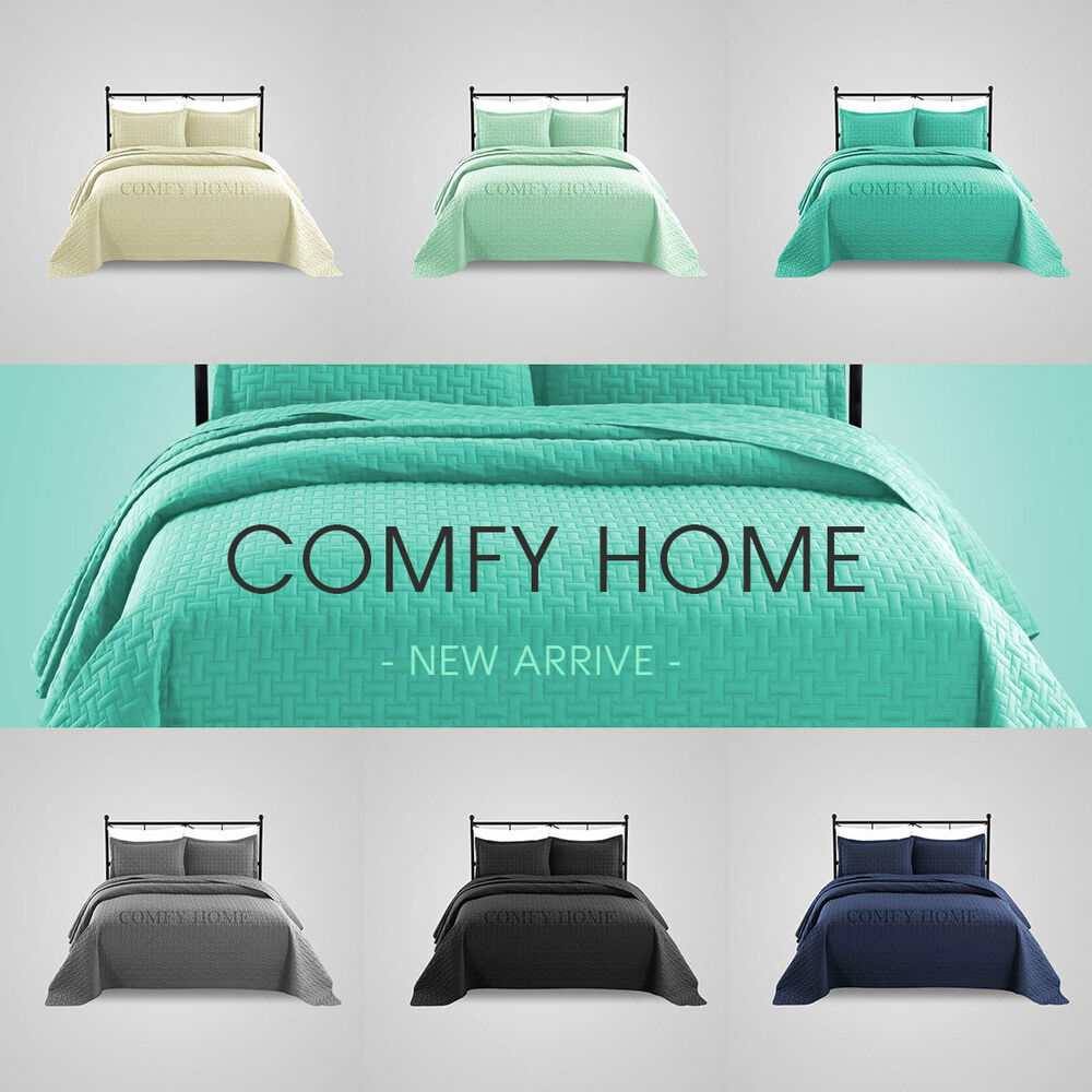 Comfy Home Oversize Quilted Bedspread Coverlet 3 Piece