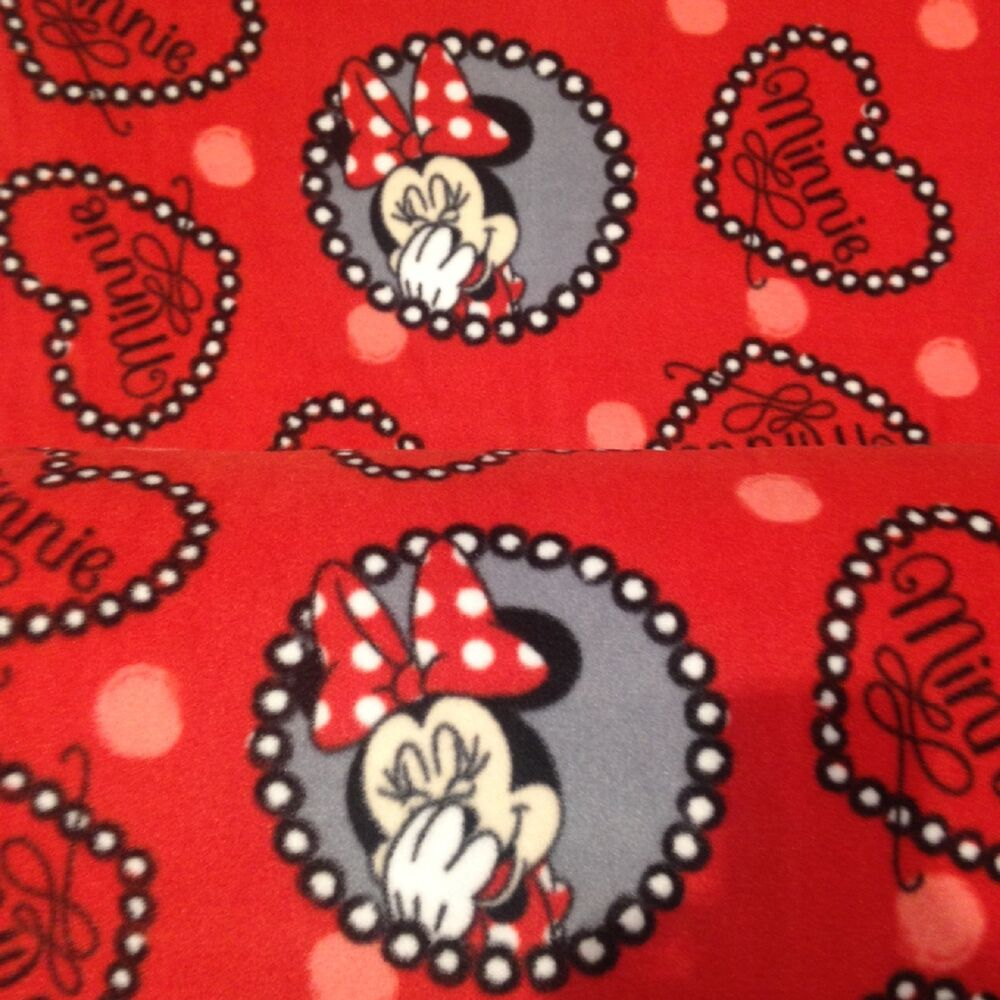 Minnie mouse red fleece fabric disney for children per for Children s character fabric